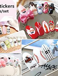 1Set  3pcs Watermark Nail Stickers
