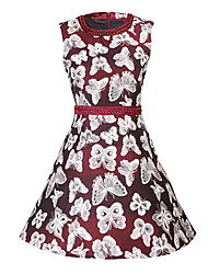 Women's Print Red / Black Dresses , Casual Round Sleeveless
