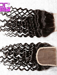 High Quality 8-20inch Bleached Knots Natural Color Brazilian Human Hair Lace Closure  with Baby Hair