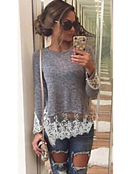aila  Women's Patchwork / Lace Gray Tops & Blouses , Vintage / Sexy / Work Round Long Sleeve