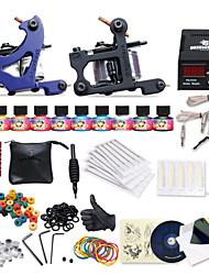 kit de tatuaje completo 2 máquinas de 10 tintas de color de fuente de alimentación