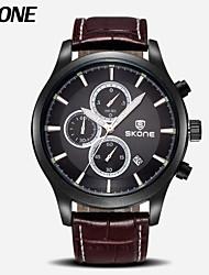 SKONE cronografo&24 ore degli uomini di funzione della vigilanza di sport genuino uomini della vigilanza di lusso in pelle orologio