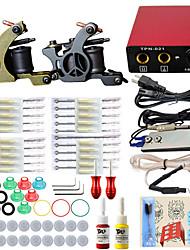 itatoo® professionnelle 2 tatouage machine complète kit de tatouage à fusil avec des couleurs d'encre de tatouage pigment aiguilles