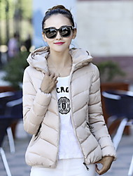 Women's Solid Pink / Red / Black Winter Parka Coat , Casual Hooded Long Sleeve Down Jacket