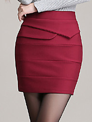 Women's Solid Red / Black Skirts , Vintage / Sexy / Bodycon / Party / Work Mini