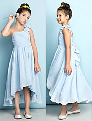 Asymmetrical Chiffon Junior Bridesmaid Dress - Sky Blue A-line One Shoulder