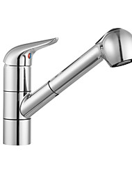 ENZORODI Kitchen Sink Faucet Tap, Pull Out 360 Degree Rotatable,Brass Polished Chrome ERF785129C
