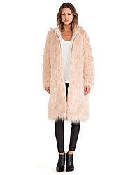 Women's Fashion Faux Fur Hoodie Long Sleeve Coat