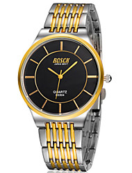 Men's  Watch Gold Really Thin Leather Belt Diamond Waterproof Watch