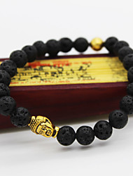 Men Fashion Bracelet Pulseras Mujer Black Lava Stone Buddha Beads Bracelet Jewelry