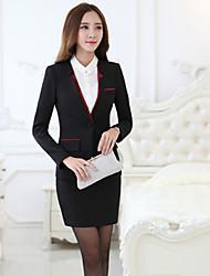 Women's Solid Red / Black Blazer , Sexy / Bodycon / Work Shirt Collar Long Sleeve(Suit + Dress)