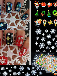 12PCS Mixed  3D Christmas Snowflake Feather Christmas tree Nail Art Stickers