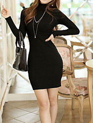 Women's Solid Color Red / Black / Gray Dresses , Sexy / Bodycon / Casual High-Neck Long Sleeve