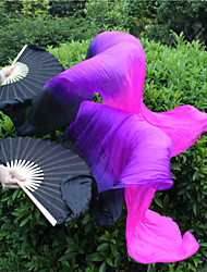Belly Dance High Quality Real Silk Fabric Fan Veils Belly Dance SILK Veils Black-Purple-Fuchsia 180*90cm 2pcs/L+R