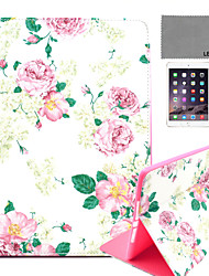 LEXY® Rose Flower Pattern PU Leather Flip Stand Case with Screen Protector and Stylus for iPad Air 2/iPad 6