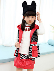 Girl's Black / Red Clothing Set , Stripes Cotton Blend Winter / Fall