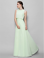 Lanting Bride Floor-length Chiffon Bridesmaid Dress A-line Jewel with