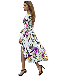 Women's Casual / Party Floral A Line Dress , Round Neck Midi Chiffon