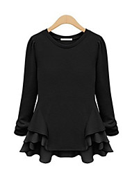 Women's Solid White / Black Blouse , Round Neck Long Sleeve