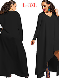 VIVI Women's Solid Color Black / Green plus size  Dresses , Sexy / Party V-Neck Long Sleeve