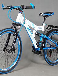 "21 Speeds 24"" Folding Mountain Bike Full Suspension Aluminium Alloy Fork Drivetrain Soft-tail Frame"