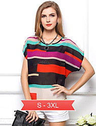 Women's Color Block Multi-color Blouse , Round Neck Short Sleeve