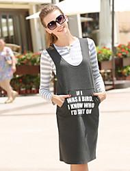Women's Striped Kint Round Neck Long Sleeve Tops + Strap Dress