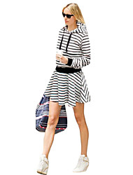 Women's Fine Stripe Casual/Daily/Plus Size Dress,Striped Hooded Above Knee Long Sleeve Blue/Black Cotton Fall Micro-elastic Opaque