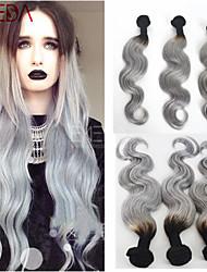 3pcs / extensiones de cabello mucho virginal brasileña del pelo de plata ombre brasileño grises ombre pelo gris de dos tonos de pelo teje