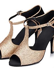 Customizable Women's Dance Shoes Latin Sparkling Glitter Stiletto Heel Gold
