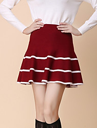 Women's Solid Red / Black / Gray Skirts , Vintage / Sexy Mini