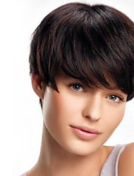 Populor Capless Human Virgin Remy Hand Tied -Top Hair Short Straight Wigs