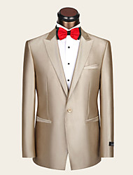 Suits Slim Fit Notch Single Breasted One-button Wool / Viscose Stripes 2 Pieces Champagne