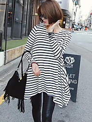 Women's Casual/Daily Simple / Street chic Fall Blouse,Striped Round Neck Long Sleeve Black Silk Opaque