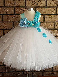 Ball Gown Ankle-length Flower Girl Dress - Tulle / Polyester Sleeveless Straps with