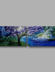 Ready to Hang Stretched Oil Painting Hand-Painted Canvas Wall Art Modern Blue Clouds Trees Abstract Two Panels