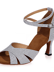 Non Customizable Women's Dance Shoes Sparkling Glitter Sparkling Glitter Latin Sandals Flared Heel Practice / Indoor / PerformanceBlack /