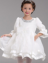 Girl's Long Sleeve Round Collar Stick Drill Lace One Piece Princess Dress for Wedding Party(Cotton)