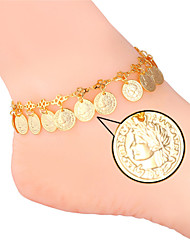 TopGold New Cute Queen Coin Anklet for Women Foot Jewelry 18K Gold Platinum Plated Anklet Bracelet On Leg High Quality