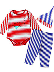 Boy's Clothing Set Spring / Fall Stripes Ship Tops  Pants Hat Three-Piece Suit