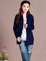 Women's Solid Blue Cardigan , Vintage Long Sleeve