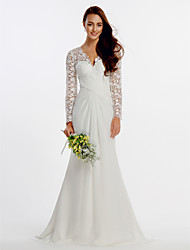 Lanting Bride Sheath/Column Wedding Dress-Sweep/Brush Train V-neck Chiffon / Lace