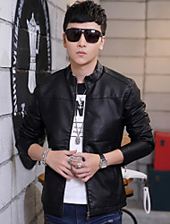 Qiu dong han edition youth add hair thickening leather collar short men, men's clothing of pu leather jacket