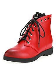 Women's Low Heel Increase Fashion Boots / Pointed Toe Ankle Boots Office & Career / Party & Evening/Dress Black/Red