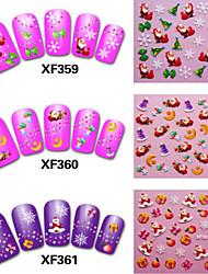 6pcs Christmas Nail Stickers Random Color