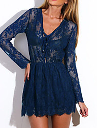 Women's Drawstring V Neck Sheer Lace Skater Dress