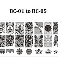 5pcs Flowers Nail Art Stamp Stamping Image Plate 6*12cm Nail Template Manicure Stencil Tools (BC-01 to BC-05)