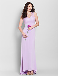 LAN TING BRIDE Sweep / Brush Train V-neck Bridesmaid Dress - See Through Sleeveless Lace Jersey