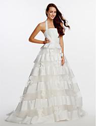 Lanting Bride A-line Wedding Dress-Sweep/Brush Train Halter Organza / Satin