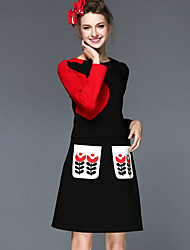 Women Winter Europe New Fashion Vintage Embroidery Pocket Patchwork Plus Size Long Sleeve Blouse +Skirt Two Piece Set
